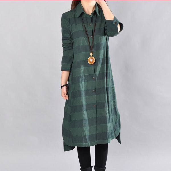 Women Spring Loose Cotton Dark Green Long Shirt