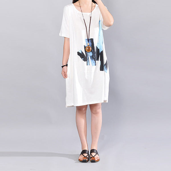Summer Printing Loose Women Splitting Cotton Short Sleeve White Dress - Buykud