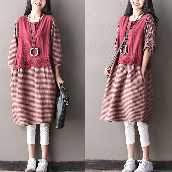 Lattice Printing Loose Cotton Linen  Casual Women Dress