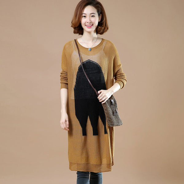 Spring Round Neck Printing Casual Sweater