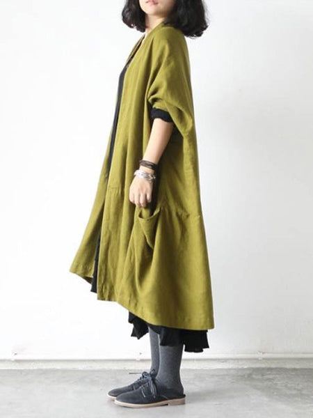 Women Plus Size Cotton Linen Coat