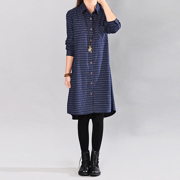 Women Stripe Polo Collar Long Sleeve Blue Dress - Buykud