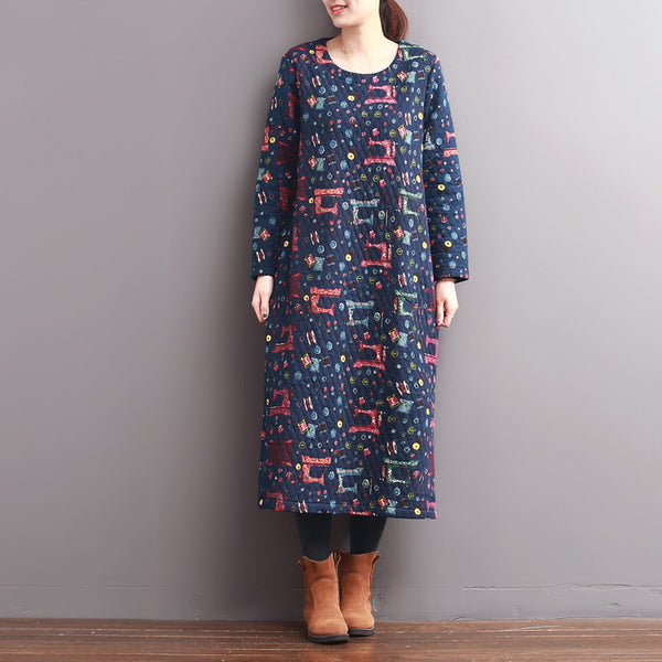 Women Casual Loose Cotton Spring  And Winter Warm Print Dress