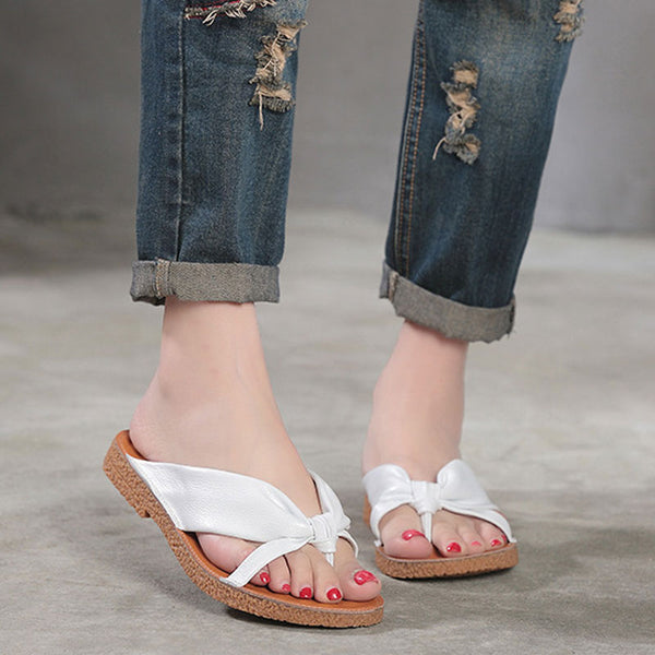 Portable Summer Cow Leather Shoes Beach Slippers