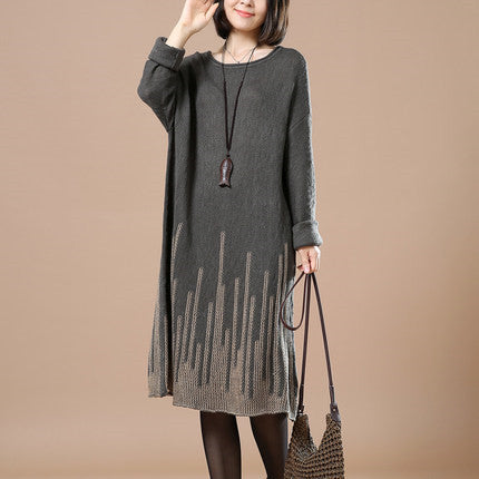 Casual Loose Autumn Long Sleeve Sweater Gray