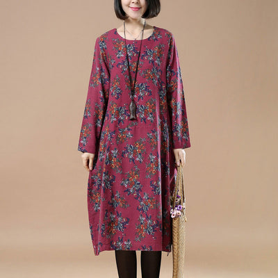 Retro Printing Plus Size Round Neck Loose Red Dress - Buykud