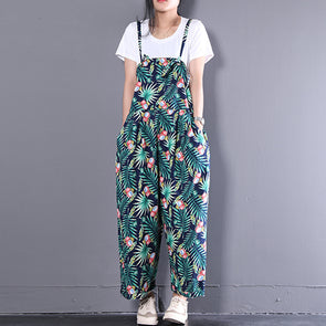 Summer Floral Casual Long Women Green Loose Jumpsuits