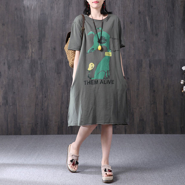 Gray Women Loose Printing Pocket Cotton Dress - Buykud