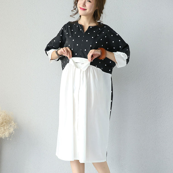 Summer Women White And Black Dot Dress