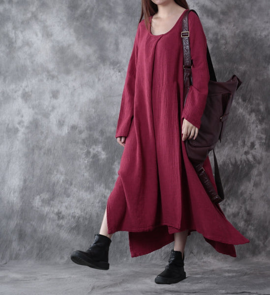 Women Casual Loose Cotton Linen Dress Red