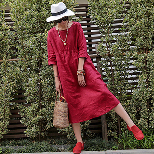 Linen Summer Women Loose Casual Folded Short Sleeves Red Dress - Buykud