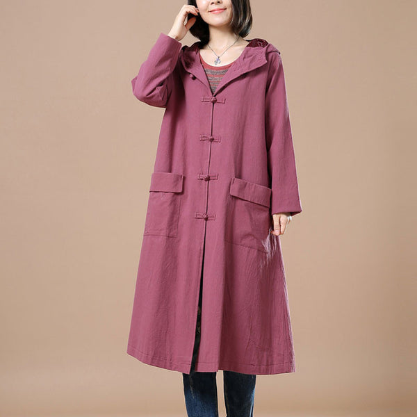 Retro Hooded Frog Long Sleeves Coat