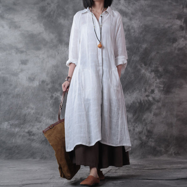 Women Long Sleeve Linen Shirt Dress White