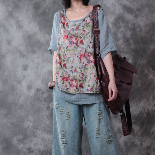 Printing Floral Loose Linen Light Blue Shirts