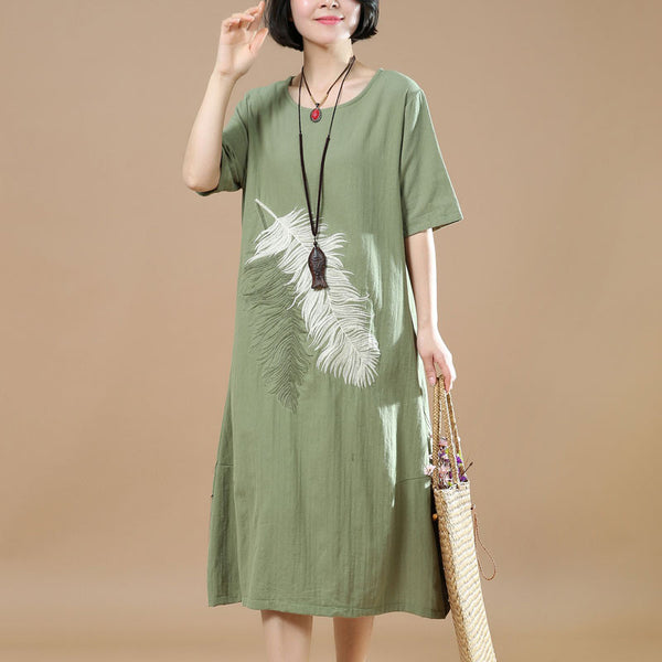 Summer Feather Embroidered Women Green Dress