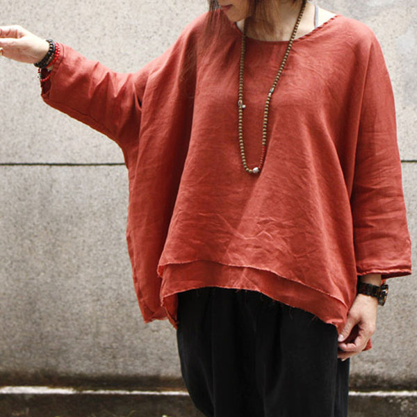 Linen Round Neck Loose Red Shirt - Buykud