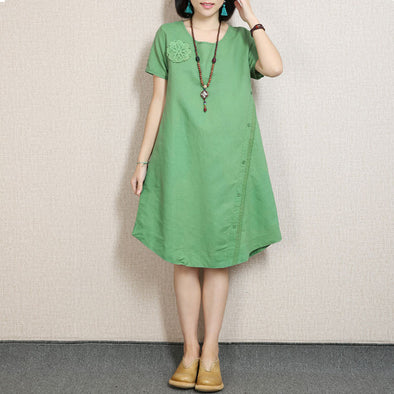 Women Embroidered Lace Green Dress - Buykud