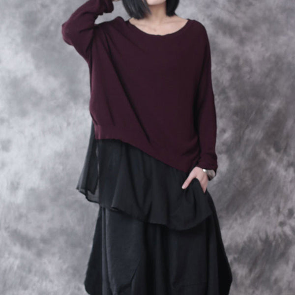Loose Round Neck Linen Dark Red Sweater