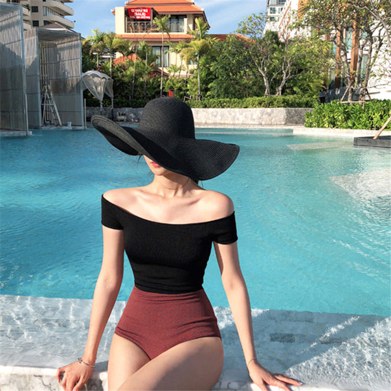 Color Matching Off-shoulder One-piece Swimwear