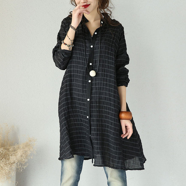 Women Casual Loose Cotton Linen Shirt Dress - Buykud