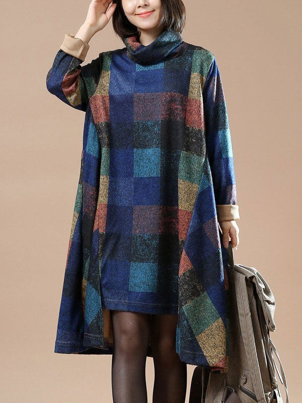 Women cotton loose autumn dress - Buykud