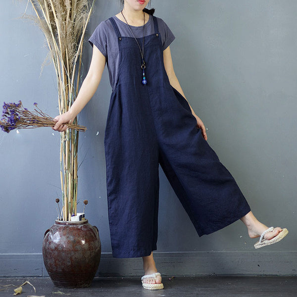 Summer Women Rompers Loose Flax Navy Blue Jumpsuits - Buykud