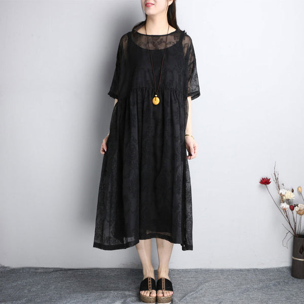 Floral Retro Loose Women Casual Silk Folded Black Dress - Buykud