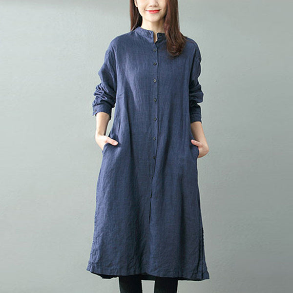 Autumn And Winter Linen Loose Dress