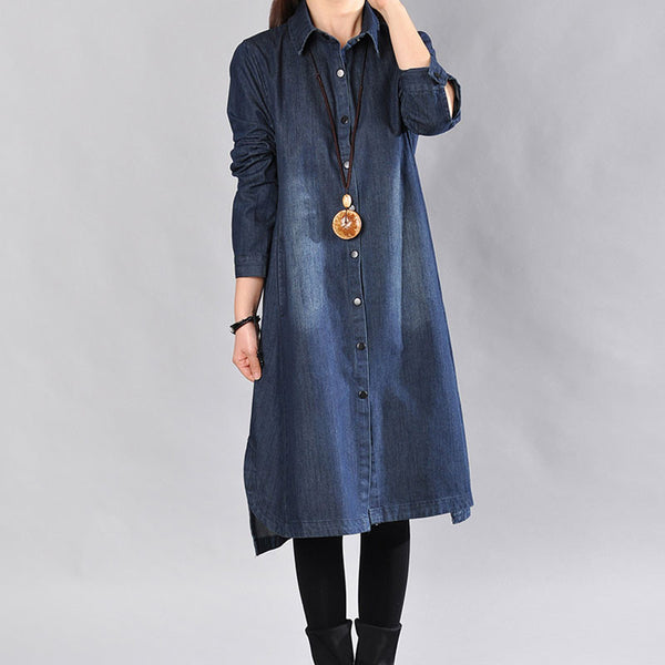 Loose Long Sleeves Spring Long Denim Long Shirt - Buykud