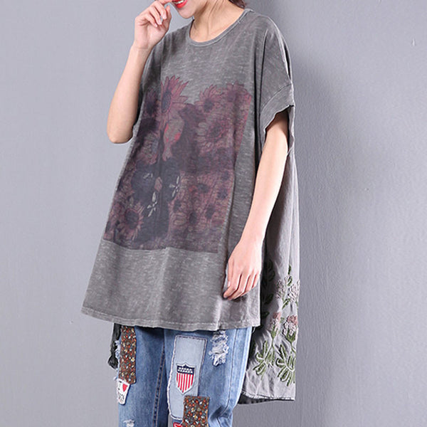 Loose Irregular Casual Women Floral Straight Cotton Gray Shirt