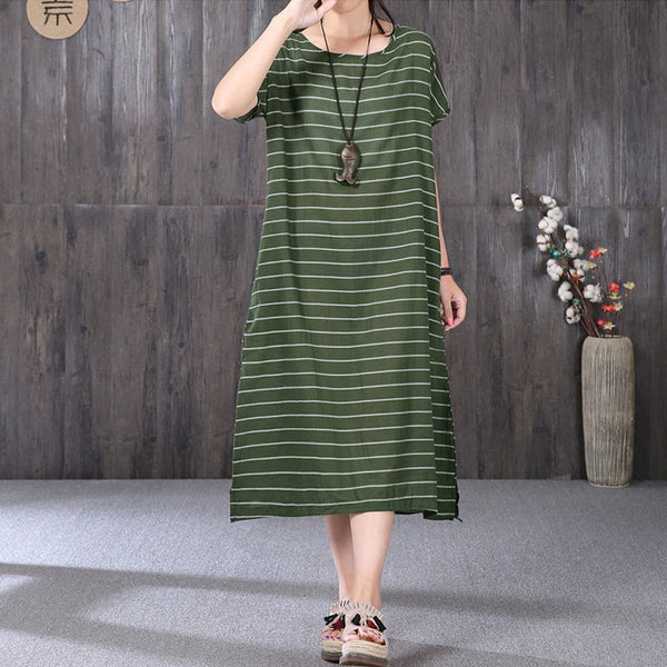 Summer Women Stripe Loose Short Sleeve Green Dress - Buykud