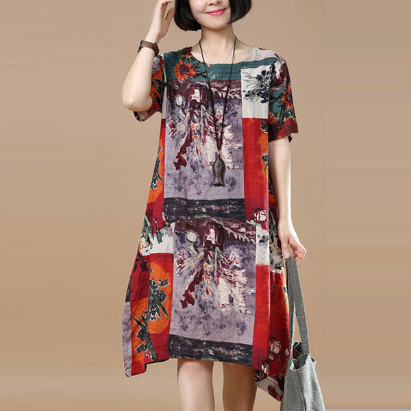 Summer Retro Printing Loose Red Dress