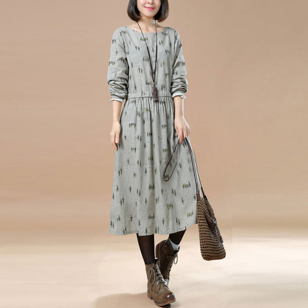 Literature Chic Printing Long Sleeves Splicing Pleated Gray Women Dress - Buykud