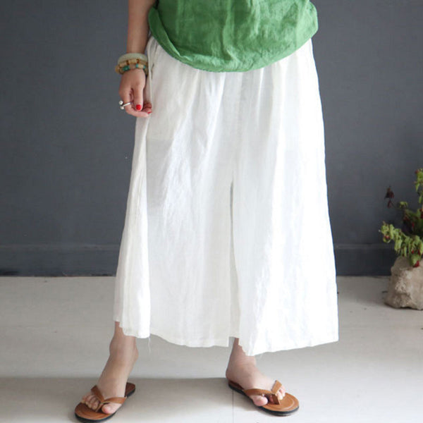 Summer Loose Casual  Linen Women White Wide Leg Pants