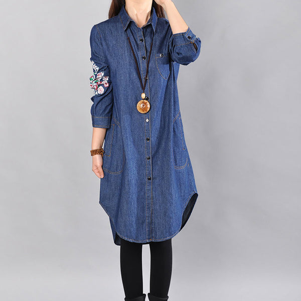 Printing Spring Women Denim Shirt