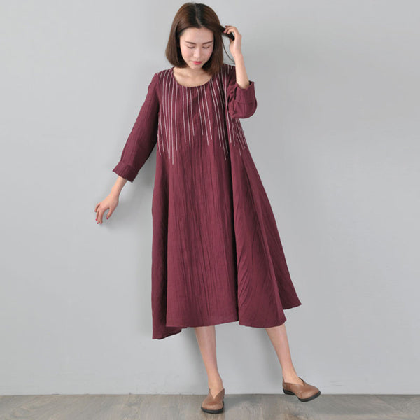 Loose Linen Spring Women Wine Red Dress