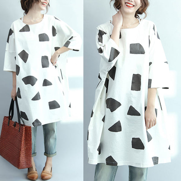 Loose Casual Elbow Sleeve Cotton Dress