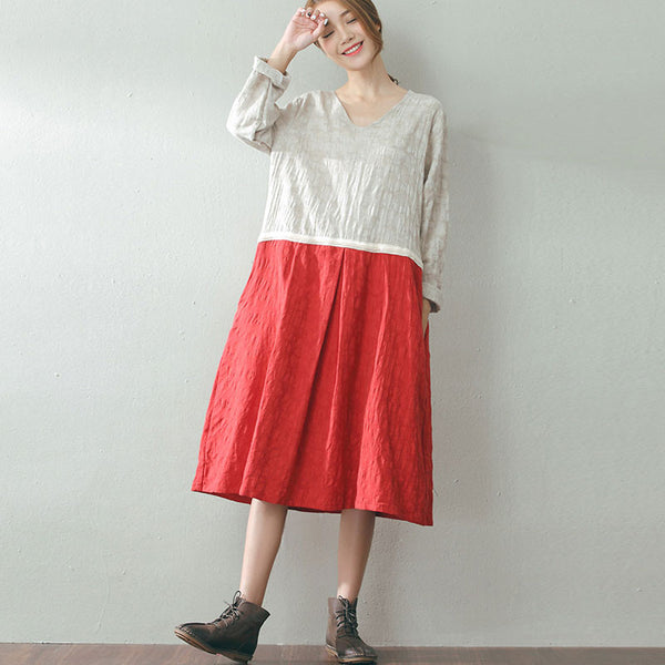 Cotton And Linen Round Neck Loose Dress