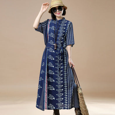 Printing Lacing Casual Cotton Women Dress - Buykud