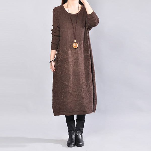 Round Neck Knitted Women Winter Coffee Dress - Buykud
