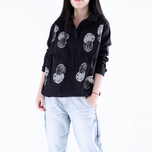 Printing Splicing Loose Black Shirt