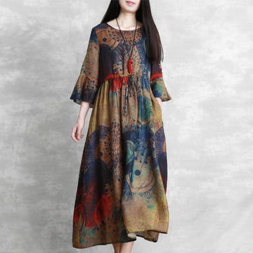 Prints Summer Short Sleeve Pleated Loose Ramie Dress