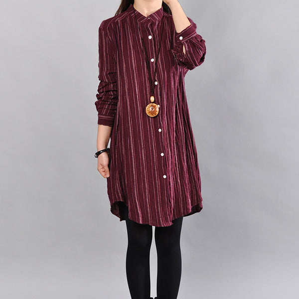 Cotton Stripe Casual Loose Red Shirt