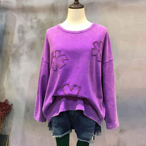Casual Loose Applique Purple Shirt