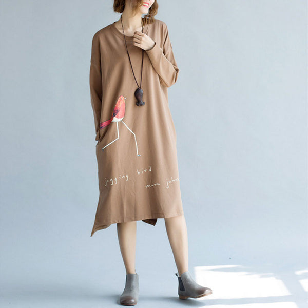 Cotton Knit Loose Long Sleeve Dress