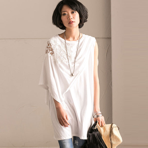 Women Casual Splicing White Shirt - Buykud