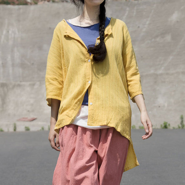 Round Neck Single Breasted Irregular Yellow Blouse
