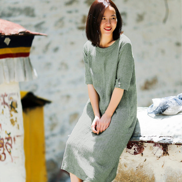 Round Neck Half Sleeve Women Summer Loose Green Pleated Dress - Buykud