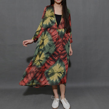 Women Printing V Neck Loose Dress - Buykud
