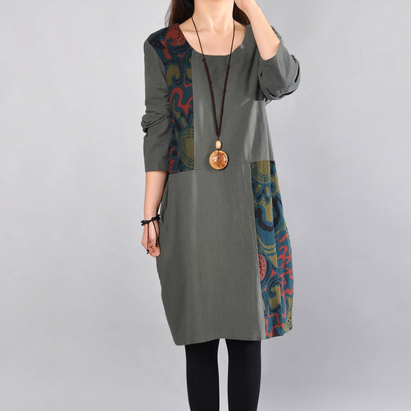 Printing Cotton Round Neck Women Green Dress